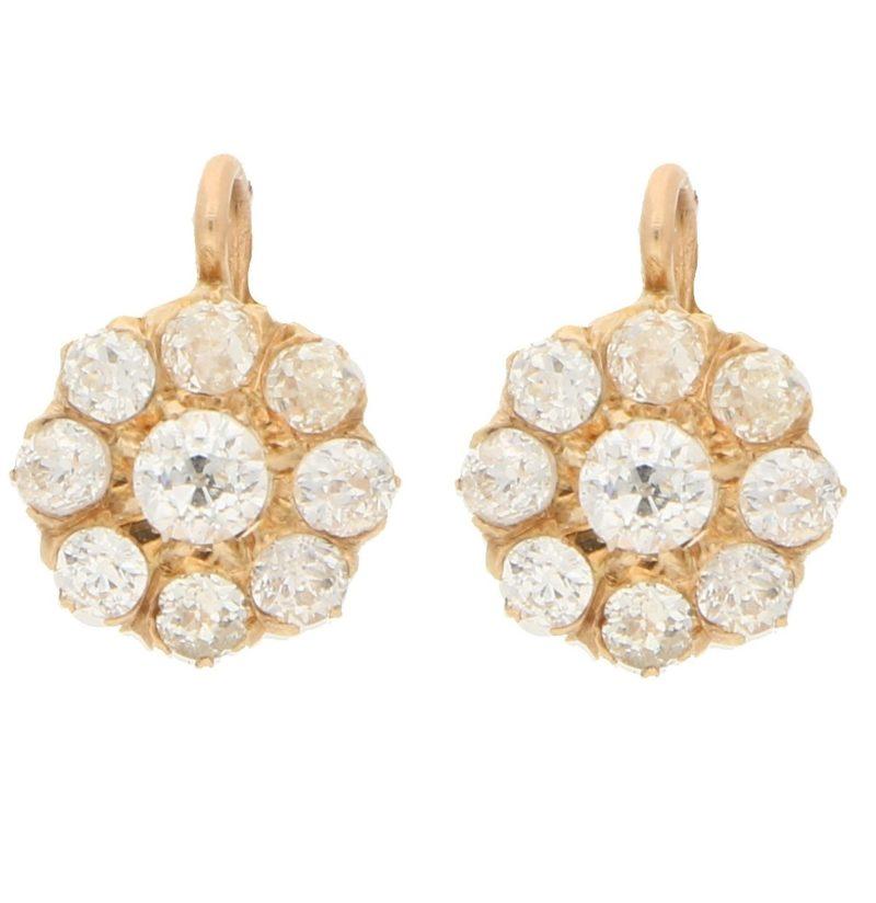 Victorian diamond coronet cluster earrings in yellow gold