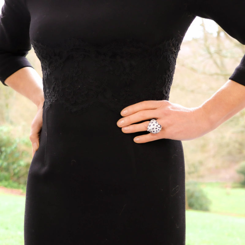 Vintage Cartier Panther Pelage Diamond and Onyx Ring