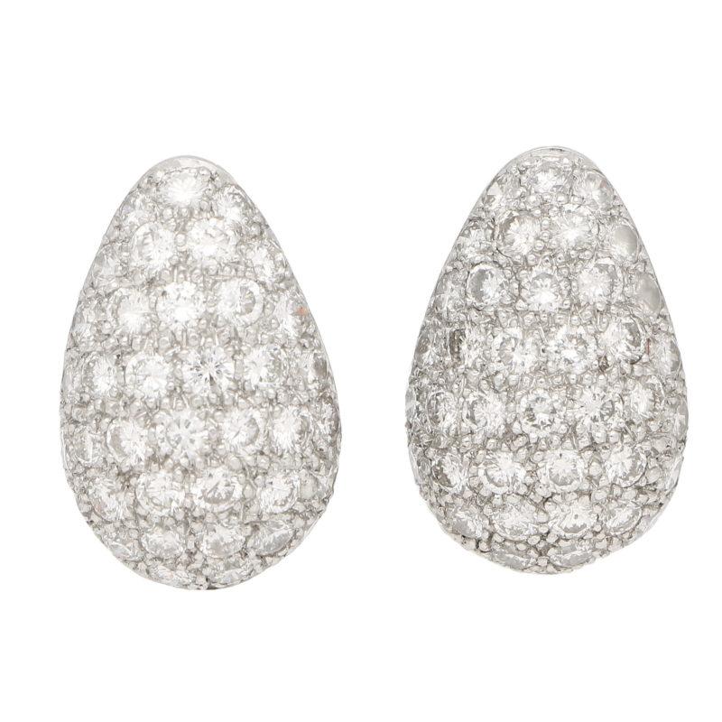 Diamond Pear Shaped Earrings Set in Platinum