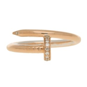 Cartier Juste un Clou diamond set pink gold ring size 58