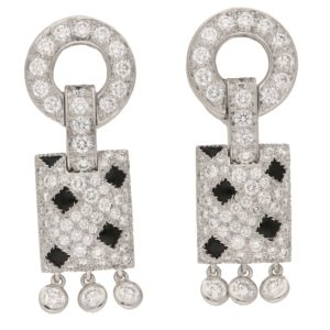 Cartier Pelage Earrings in 18ct White Gold, Diamond & Onyx