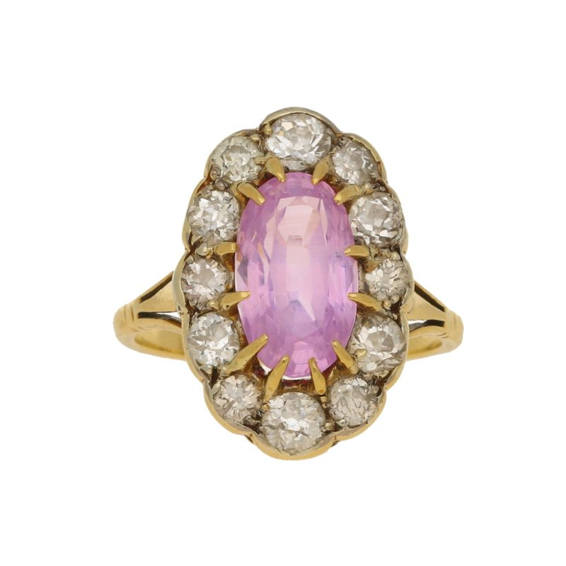 Pink Sapphire & Diamond Oval Cluster Ring