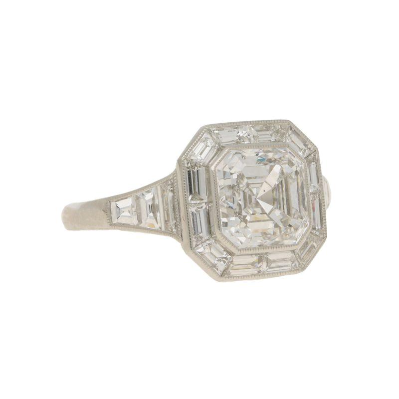 Asscher Cut Diamond Cluster Ring in Platinum