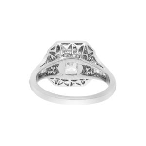Asscher Cut Diamond Cluster Ring in Platinum