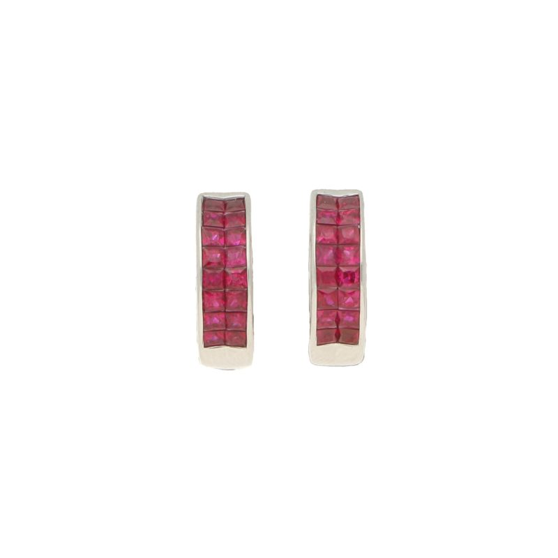 18ct White Gold & Ruby Huggy Earrings 1.37ct