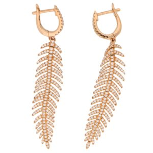 Articulated Feather Diamond Drop Earrings in Rose Gold