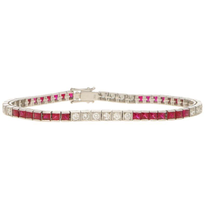 Ruby and diamond line bracelet.