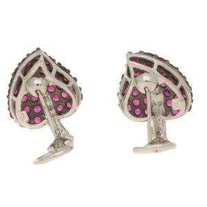 Ruby and diamond leaf earrings