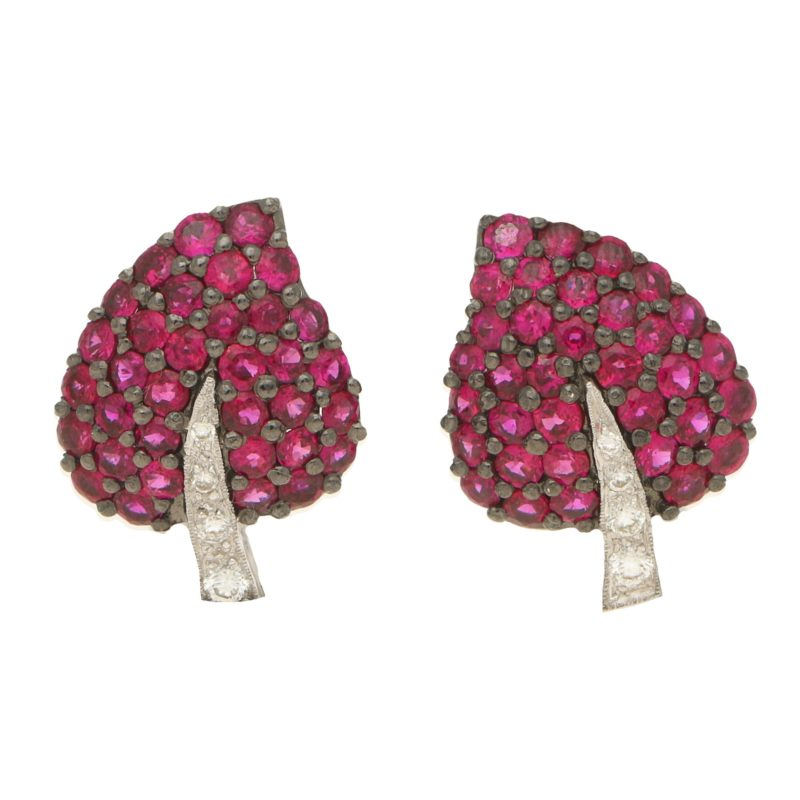 Ruby and diamond leaf earrings