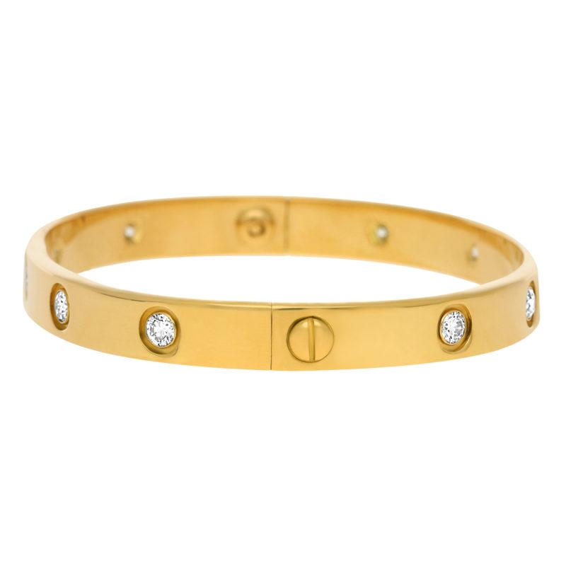 Cartier Full Diamond Love Bracelet Size 17