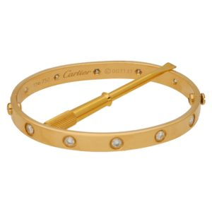 Cartier Full Diamond Love Bangle Size 17