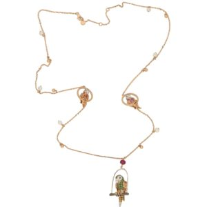 Tsavorite Garnet, Sapphire and Diamond Parrot Necklace