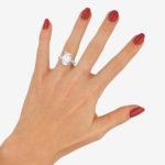 Art Deco Style Diamond Step Cut Engagement Ring Set in Platinum