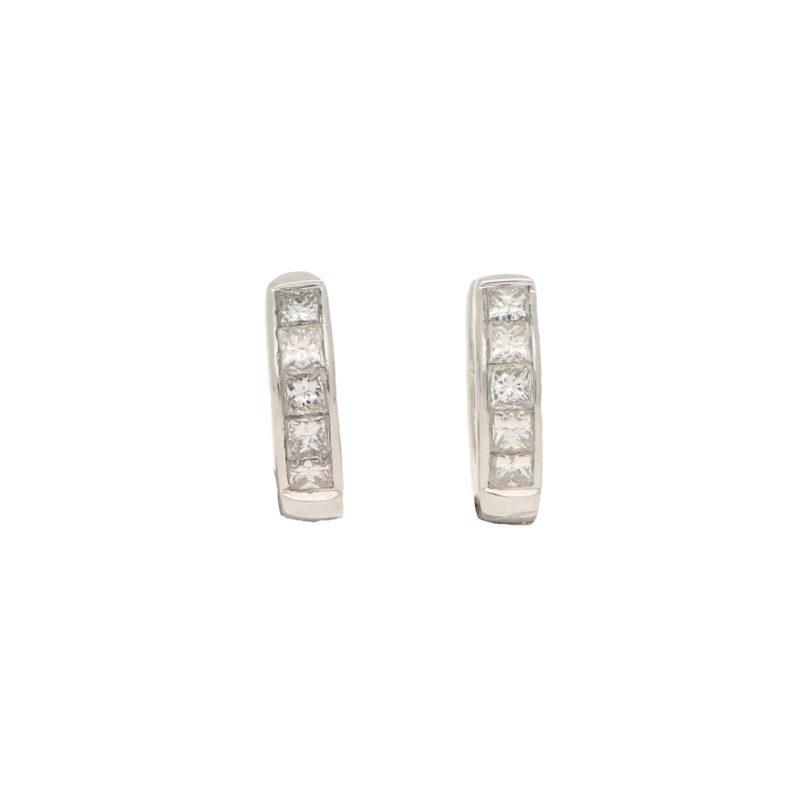 Princess cut diamond 'huggy' earrings