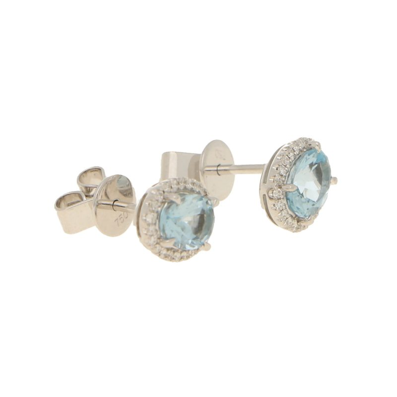 Aquamarine and diamond cluster earrings set in 18K white gold