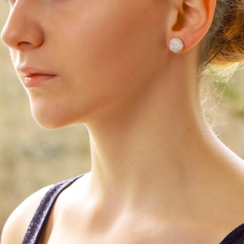 Diamond Button Earrings