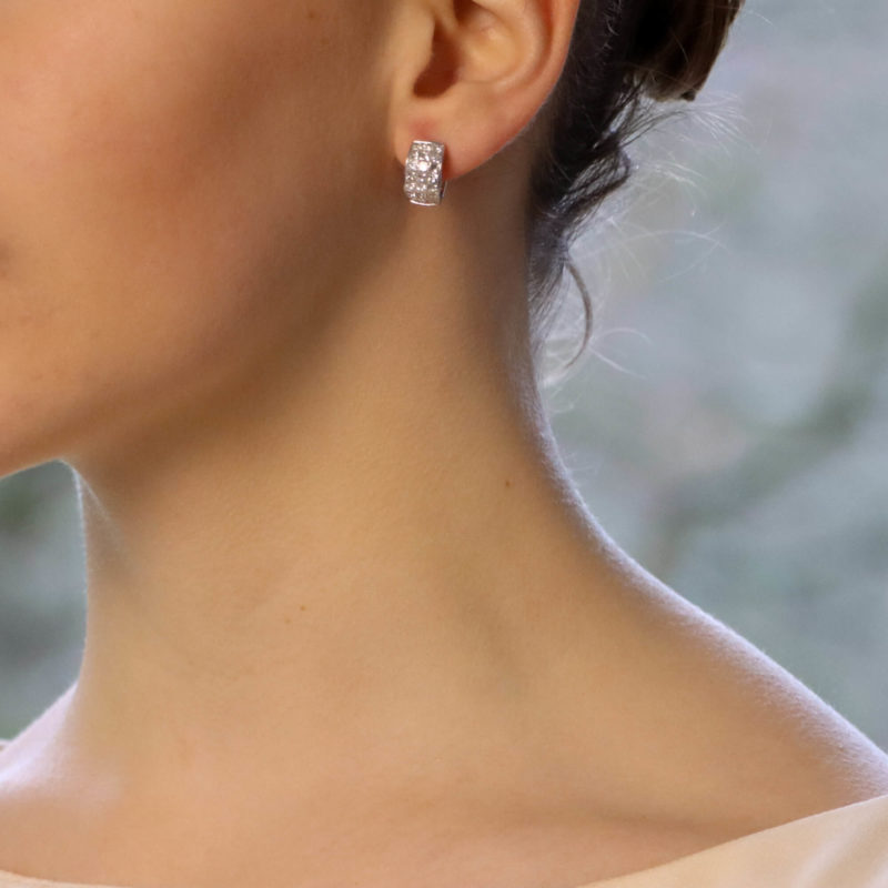 Princess Cut Diamond Earrings set in 18K White Gold