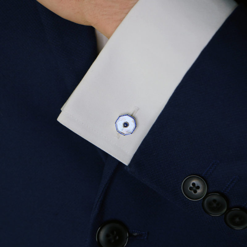 Mother-of-Pearl, Sapphire and Enamel Cufflinks Sterling Silver