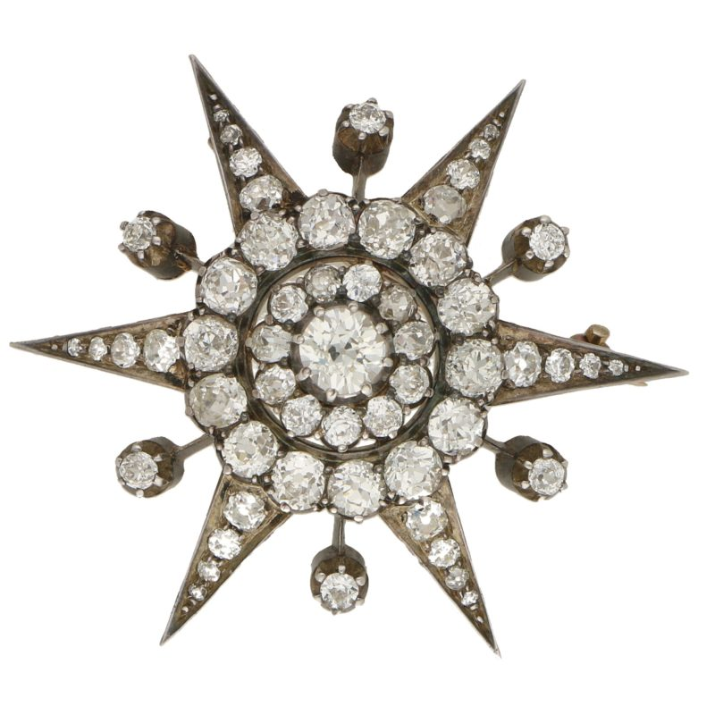 Victorian Diamond Star Brooch in Silver on Gold