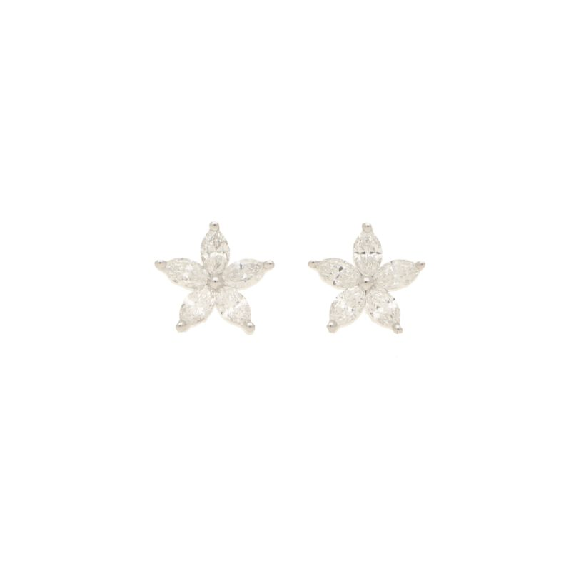Diamond star earrings in 18K white gold