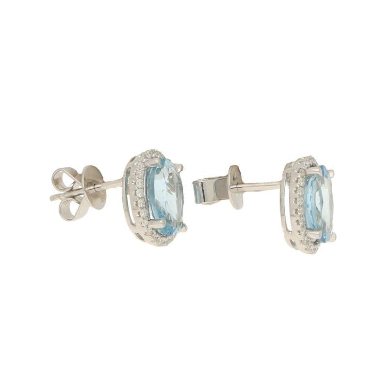 Aquamarine and diamond earstuds