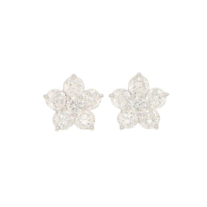 Diamond cluster earstuds set in 18K white gold