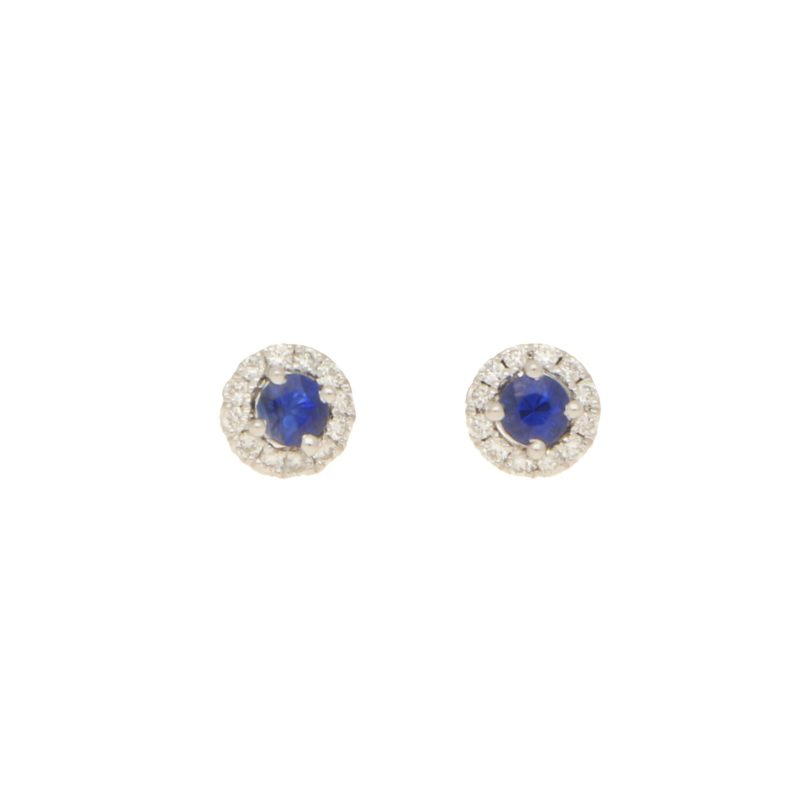 Sapphire and diamond cluster earstuds set in 18K yellow gold
