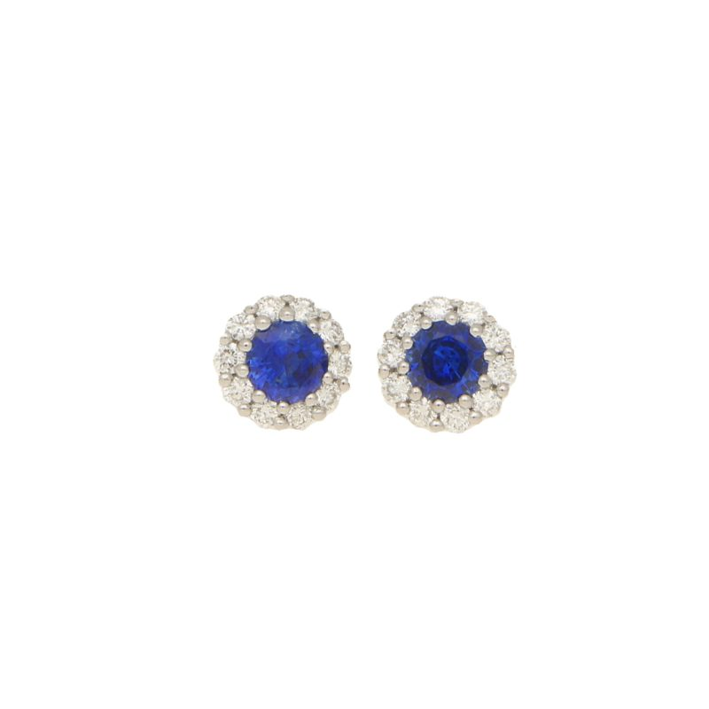 Sapphire and diamond cluster earstuds set in 18K white gold
