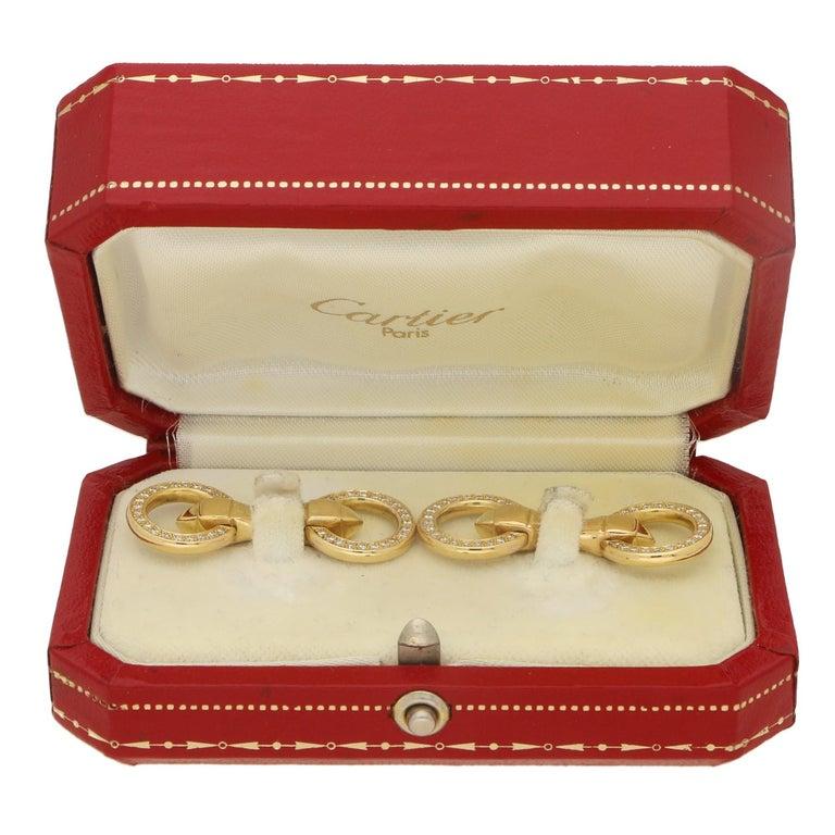 Cartier Double Sided Diamond Circle Snaffle Cufflinks
