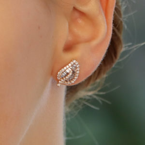 Diamond Leaf Stud Earrings in Rose Gold