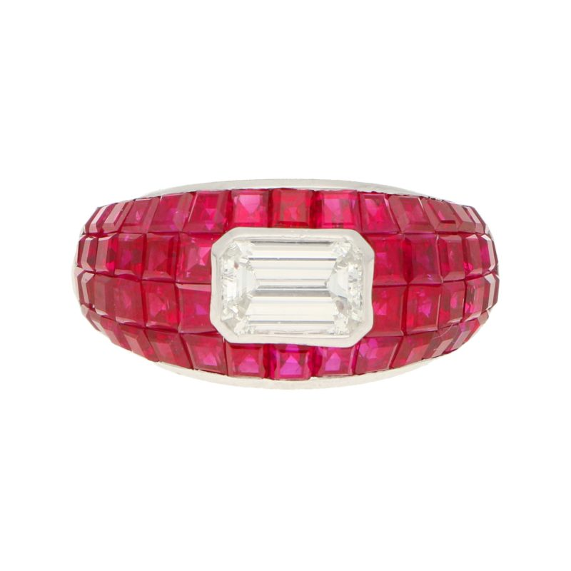 Ruby and Emerald Cut Diamond Cocktail Ring