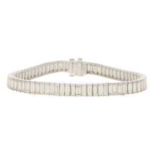 Art Deco Inspired Baguette Cut Diamond Tennis Bracelet