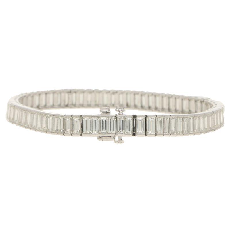 Art Deco Inspired Baguette Cut Diamond Tennis Bracelet