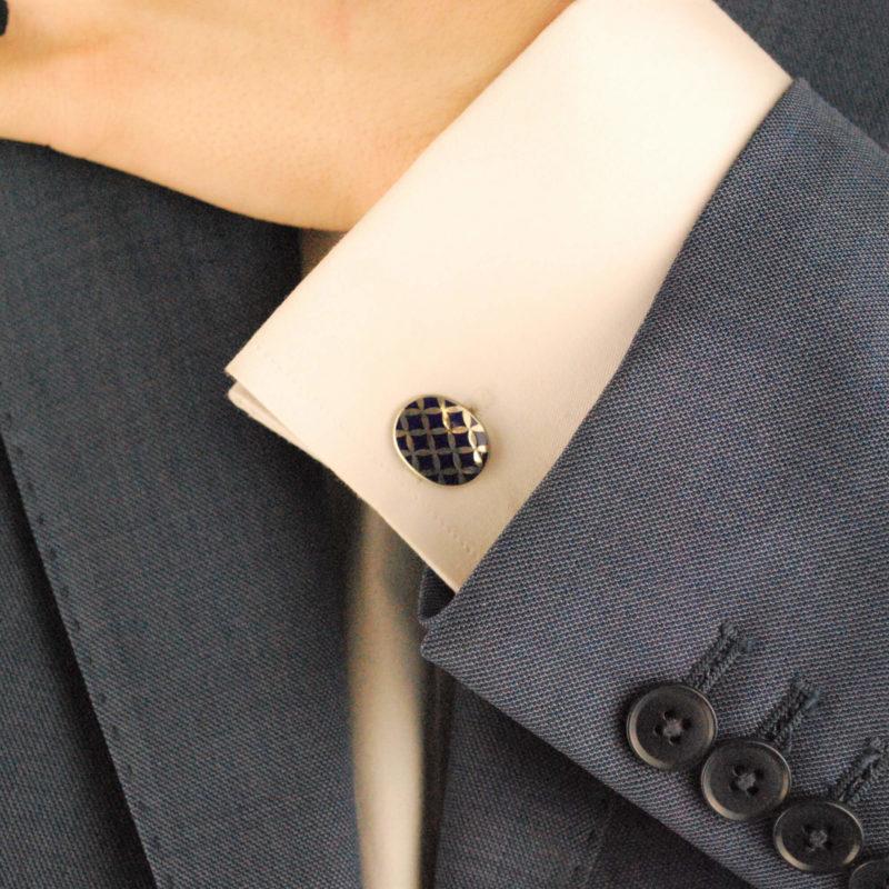Navy Blue Harlequin Enamel Cufflinks in Sterling Silver