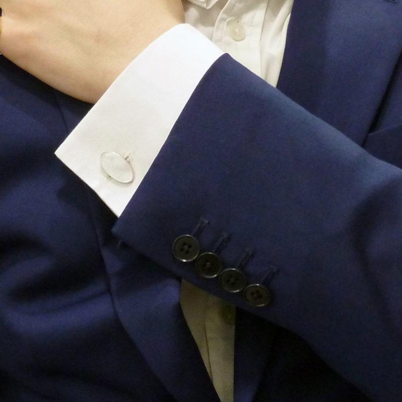 Mother-of-pearl Oval Swivel Cufflinks in Sterling Silver