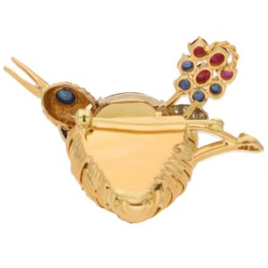 Citrine, Ruby, Sapphire and Diamond Nesting Bird Brooch
