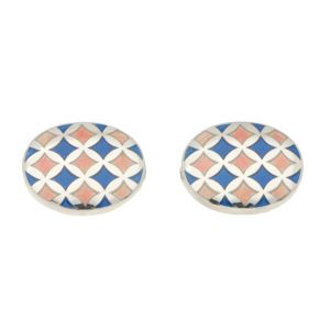 Baby Blue and Pink Harlequin Enamel Cufflinks in Sterling Silver