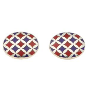 Red and Blue Harlequin Enamel Cufflinks in Sterling Silver