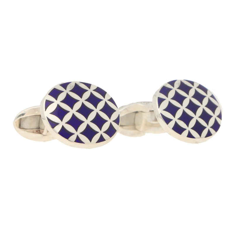 Navy Blue Harlequin Enamel Cufflinks in Sterling Silver