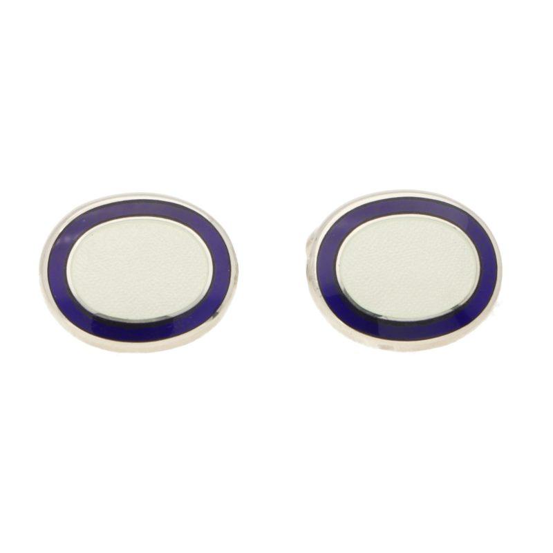 White and Blue Enamel Frame Swivel Cufflinks in Sterling Silver