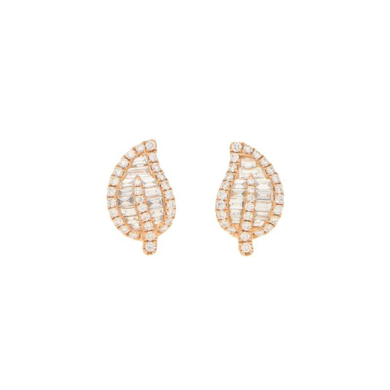 Diamond Leaf Stud Earrings in Rose Gold