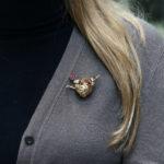 Citrine, Ruby, Sapphire and Diamond Nesting Bird Brooch