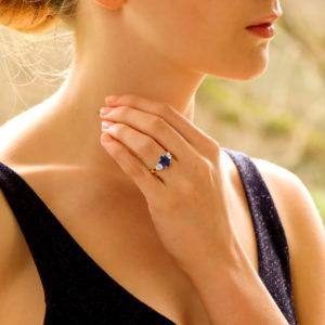 Royal Blue Sapphire and Diamond Three Stone Engagement Ring