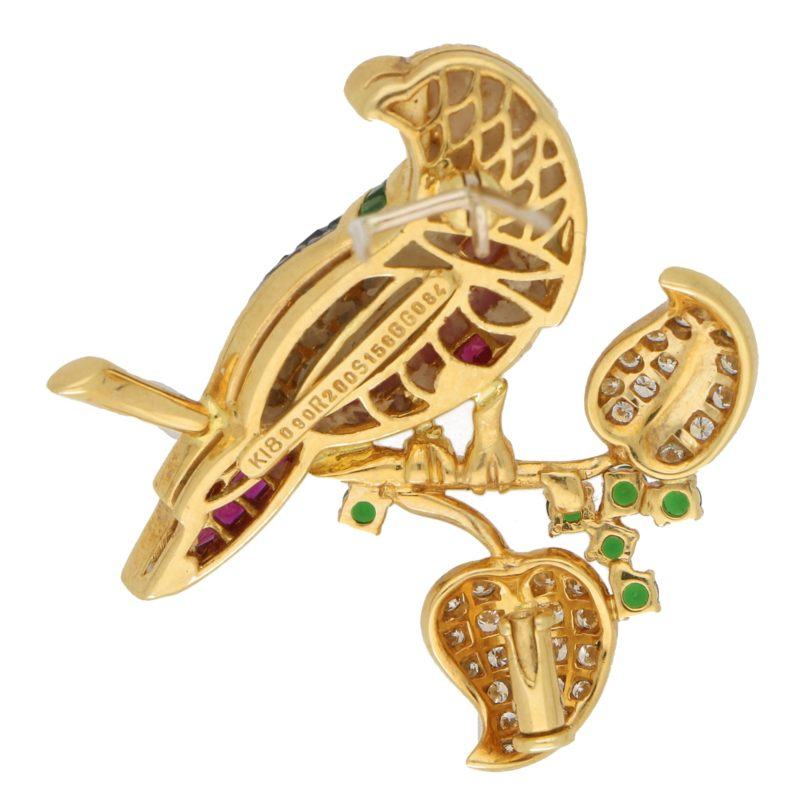 Parrot Brooch Invisibly-Set Rubies, Sapphires, Garnet, Diamonds