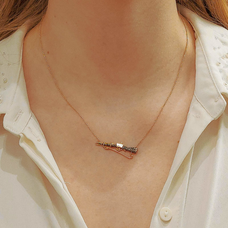 Victorian Hunting Rifle Necklace Set in 18k Rose Gold