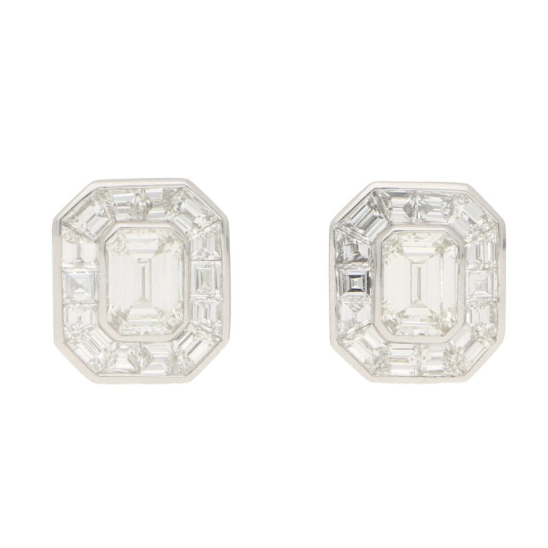 Art Deco Style Emerald Cut Diamond Cluster Earrings in Platinum