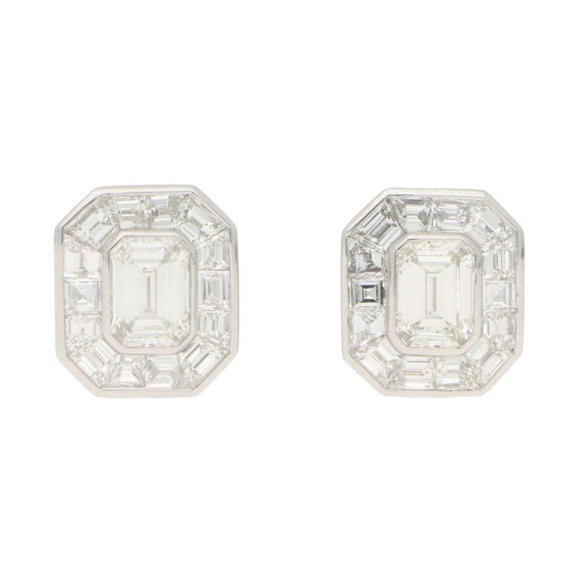 Art Deco Style Emerald Cut Diamond Cluster Earrings in Platinum