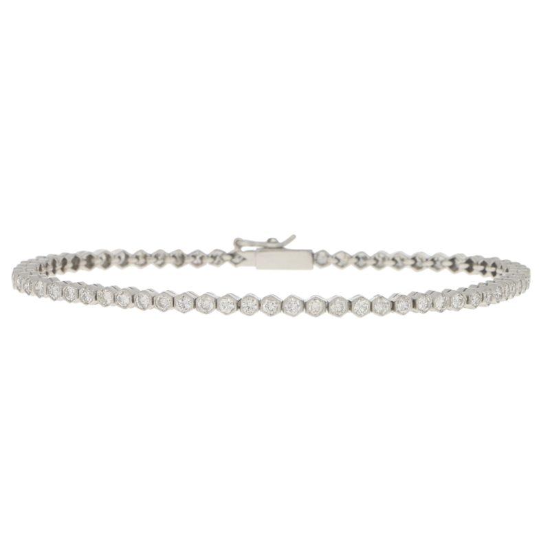 Diamond Line Bracelet Set in Platinum