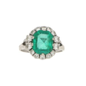 Emerald and Diamond Cluster Engagement Ring Set in 14k Gold