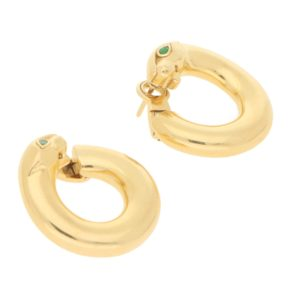 Emerald Eyed Cartier Panthere Hoops in 18k Yellow Gold